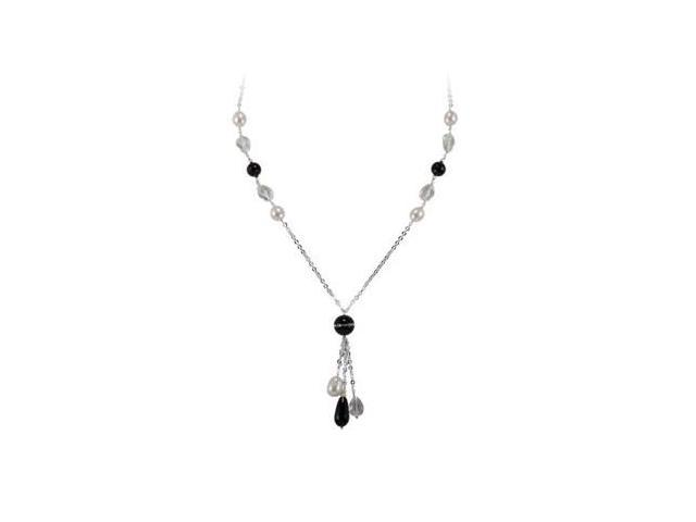 Multi Gemstone and Pearl Necklace 30 Inch Chain in .925 Sterling Silver