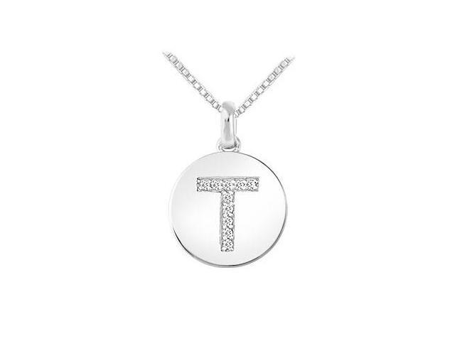 Diamond Disc Initial T Pendant  14K White Gold - 0.10 CT Diamonds