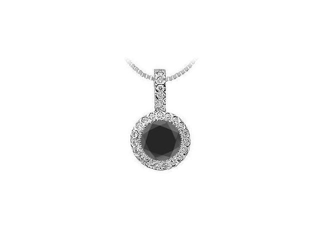 Round Black Onyx and Pave set Cubic Zirconia Pendant in Rhodium Treated Sterling Silver 1.25 CT