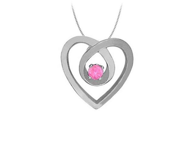 September Birthstone Pink Sapphire Heart Pendant Necklace in 14kt White Gold 0.10 CT TGW