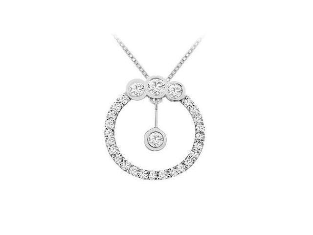 Cubic Zirconia Circle Pendant in Rhodium Treated .925 Sterling Silver 0.75 Carat TGW