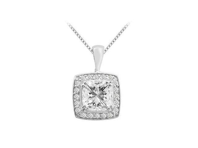 Cushion cut Cubic Zirconia Pendant in 14K White Gold 5.25 Carat Total Gem Weight