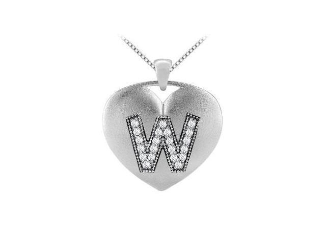 Initial W Diamond Heart Pendant in 14K White Gold with 0.21 Carat Diamonds