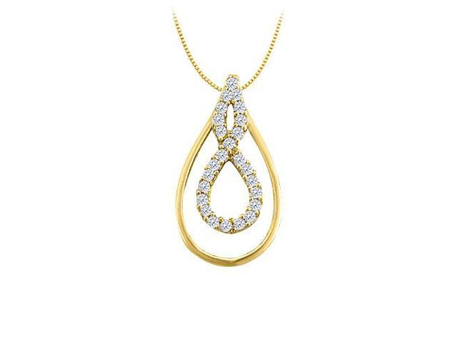 Diamond Double Tear Drop Pendant in 14K Yellow Gold 0.33 CT TDW with Gold ChainJewelry Gift