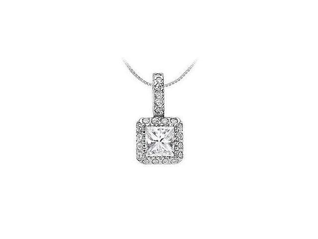 Princess Cut and Round Cubic Zirconia Pendant in Rhodium Treated Sterling Silver 0.75 CT TGW