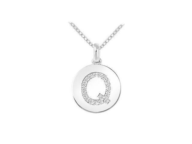 Diamond Disc Initial Q Pendant  14K White Gold - 0.20 CT Diamonds