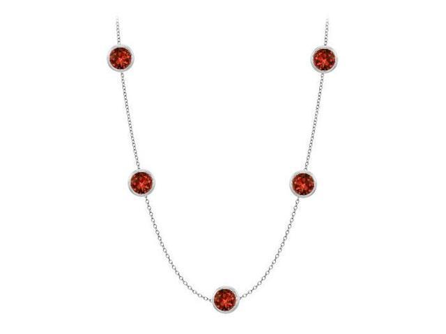 Garnet station necklace by the yard 50 carat in 14K white gold complete one yard long