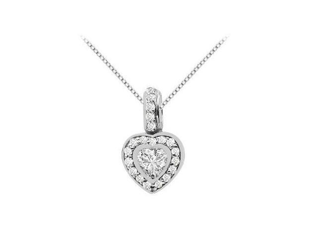 Round and Heart Shape Cubic Zirconia Pendant in 14K white Gold 1.50 Carat Total Gem Weight