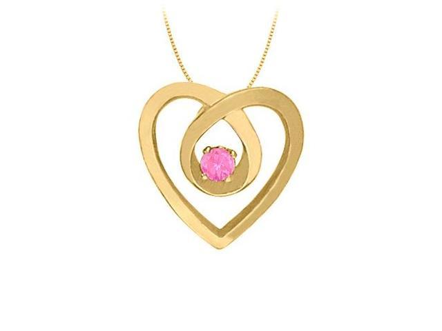 September Birthstone Pink Sapphire Heart Pendant Necklace in 14kt Yellow Gold 0.10 CT TGW