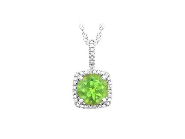 August Birthstone Peridot and Diamond Pendant in 925 Sterling Silver 1.50 CT TGW