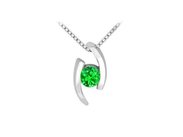 Frosted Emerald Pendant in Rhodium Treated 925 Sterling Silver 0.25 Carat TGW