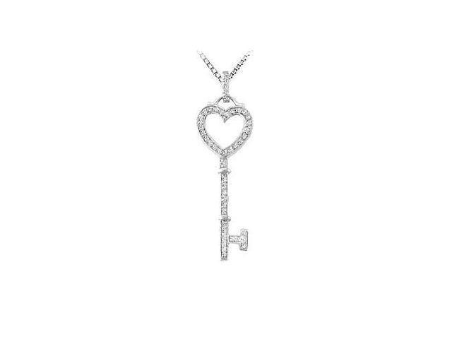 Diamond Key Pendant  14K White Gold - 0.33 CT Diamonds