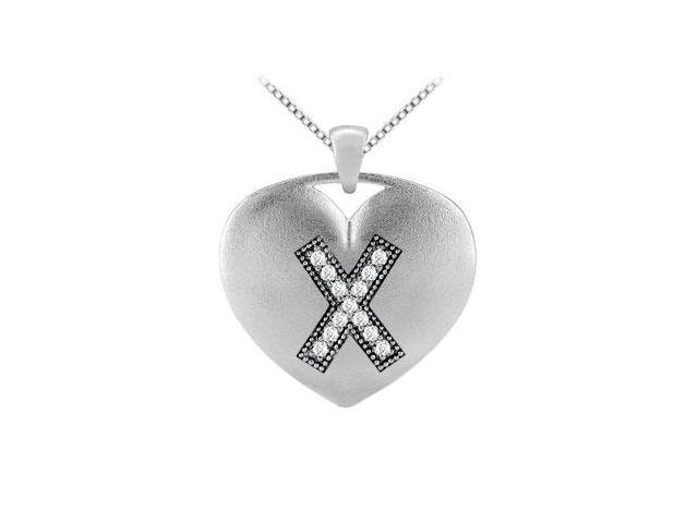 14K White Gold Heart Pendant in Diamonds Initial X with  0.13 Carat TDW