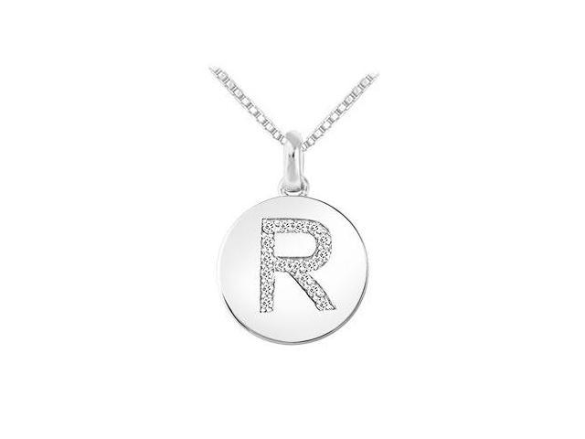 Diamond Disc Initial R Pendant  14K White Gold - 0.20 CT Diamonds