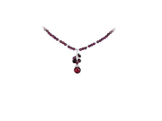Rhodolite Garnet and Freshwater Cultured Dyed Pearl Necklace in .925 Sterling Silver