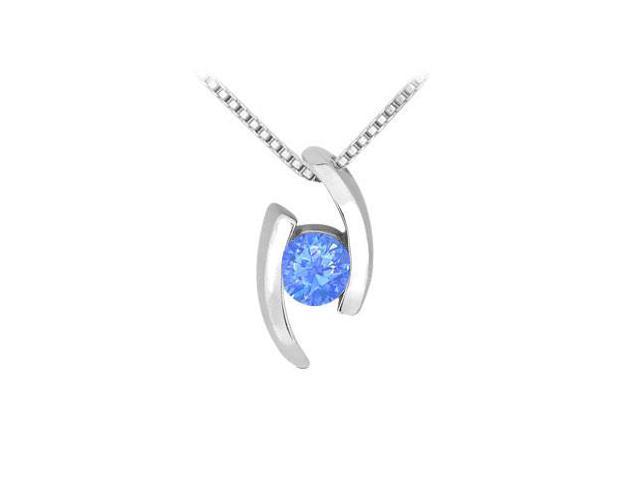 Diffuse Sapphire Fashion Pendant in Rhodium Treated 925 Sterling Silver 0.25 Carat TGW