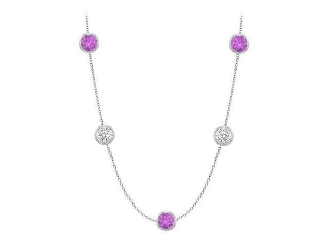 Amethyst and CZ Station Necklace By The Yard in 14K White Gold 50 Carat with 36 Inch Long