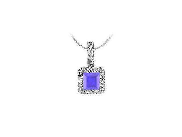 Diffuse Sapphire and Cubic Zirconia Pendant in Rhodium Treated 925 Sterling Silver 0.75 Carat TG