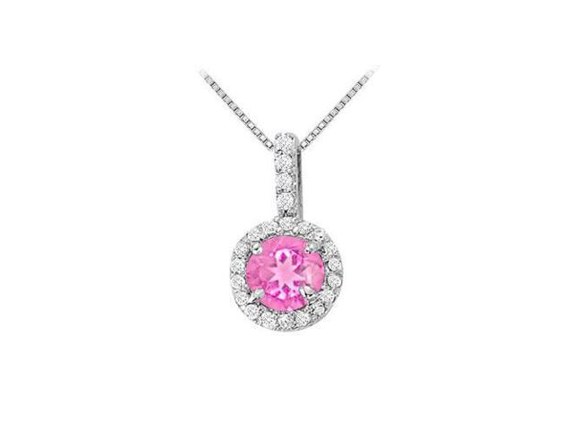 Fancy Round Pink Sapphire and Cubic Zirconia Halo Pendant in Sterling Silver