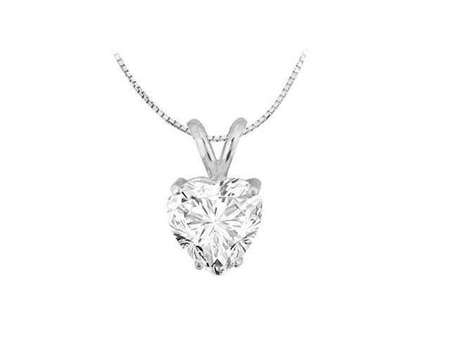 Two Carat Heart Shape Cubic Zirconia in 14K White Gold Pendant