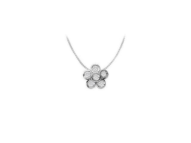 Bezel Set Cubic Zirconia Flower Pendant in Rhodium Treated .925 Sterling Silver 0.50 Carat TGW