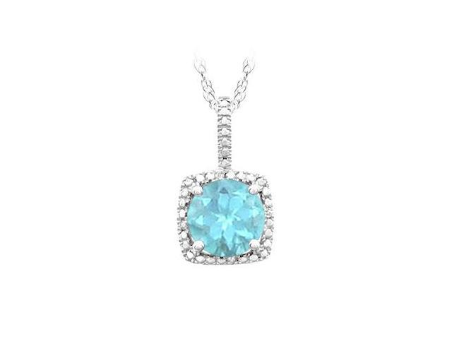 March Birthstone Created Aquamarine Pendant with Diamond in 925 Sterling Silver 1.50 CT TGW