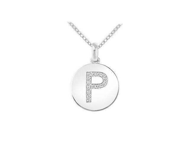 Diamond Disc Initial P Pendant  14K White Gold - 0.15 CT Diamonds
