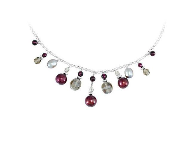 Freshwater Cultured Dyed Cranberry and Grey Pearl in Adjustable .925 Sterling Silver Necklace