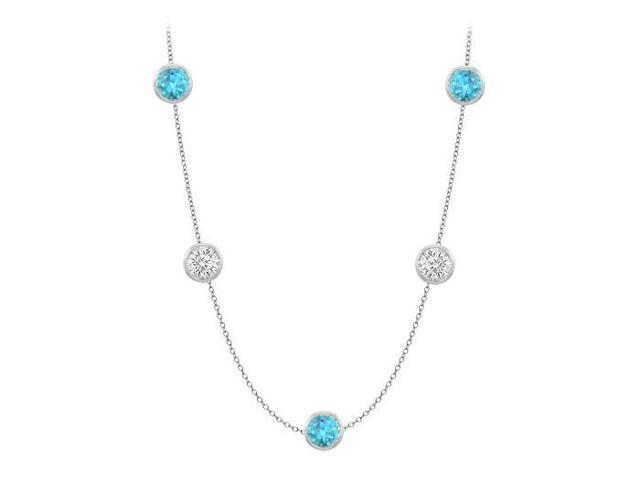 Necklace By The Yard Blue Topaz with Cubic Zirconia Fifty Carat TGW in 14K White Gold 36 Inch Lo