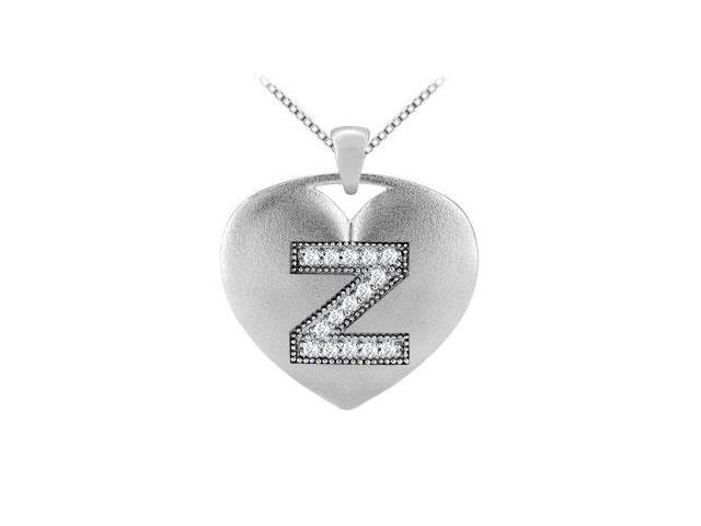 diamond initial Z heart pendant with 0.15 ct diamonds in white gold 14k