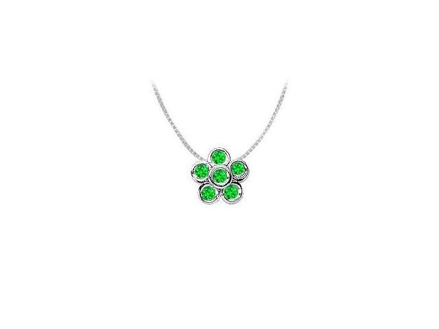 Rhodium Treated 925 Sterling Silver with Frosted Emerald Flower Pendant 0.50 Carat TGW