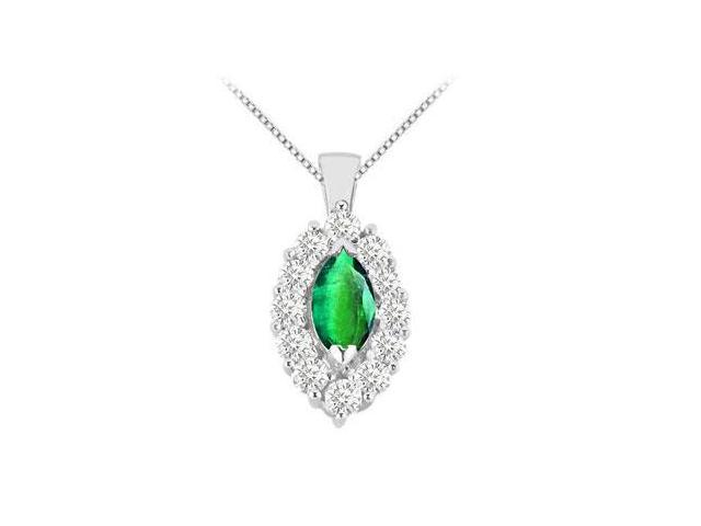Two Carat Frosted Emerald Marquise Cut and Round Cubic Zirconia Pendant in White Gold 14K