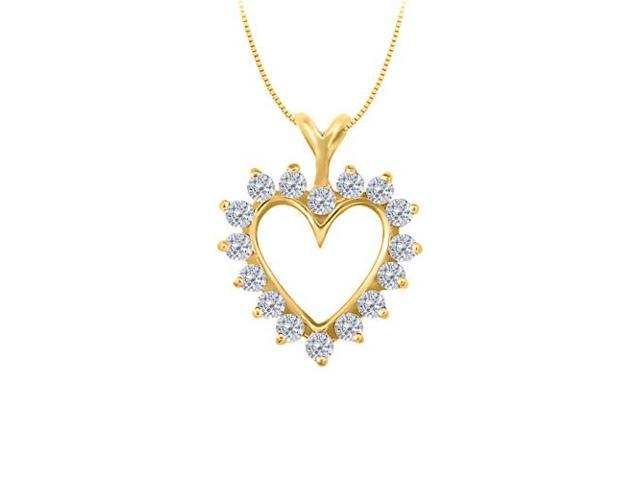 Diamond Heart Pendant in 14K Yellow Gold 0.50 CT TDWPerfect Jewelry Gift for Women