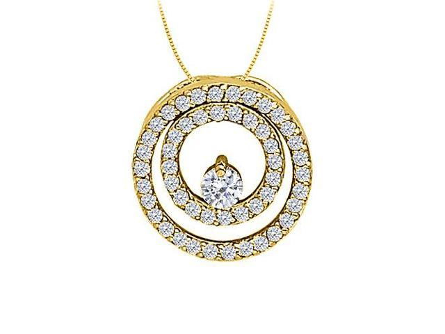CZ Double Circle Pendant in Yellow Gold Vermeil over Sterling Silver 0.50 CT TGWJewelry Gift