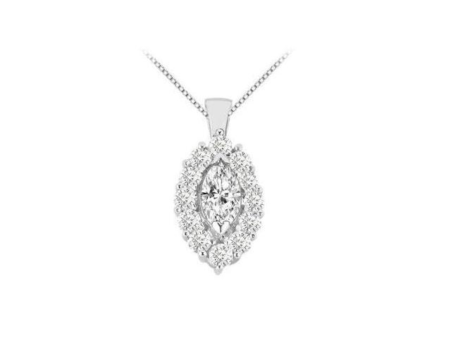 Marquise Cubic Zirconia Pendant in 14K White Gold 2.50 Carat Total Gem Weight