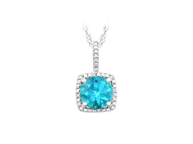 November Birthstone Created Blue Topaz and Diamond Pendant in 925 Sterling Silver 1.50 CT TGW