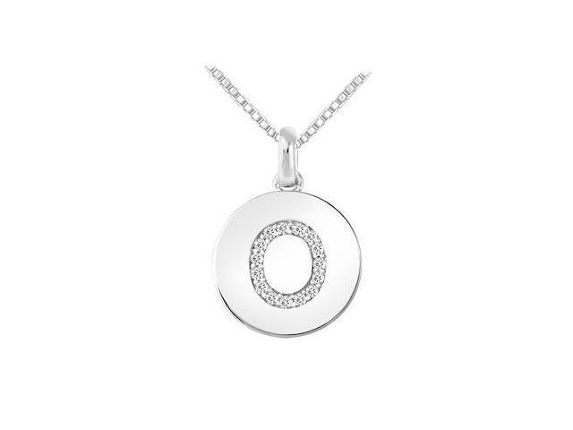 Diamond Disc Initial O Pendant  14K White Gold - 0.15 CT Diamonds