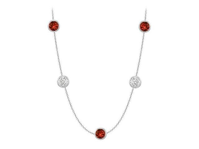 By The Yard Necklace with Garnet and CZ in 14K White Gold 50 Carat TGW with 36 Inch Long