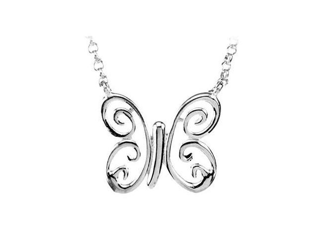 Rhodium Treated .925 Sterling Silver Butterfly Necklace
