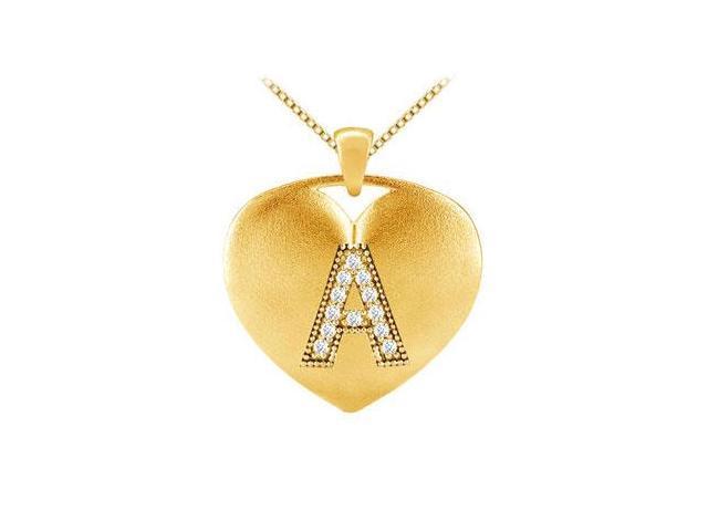 Heart Diamond Initial A Pendant in 14K Yellow Gold 0.12 Carat Diamonds