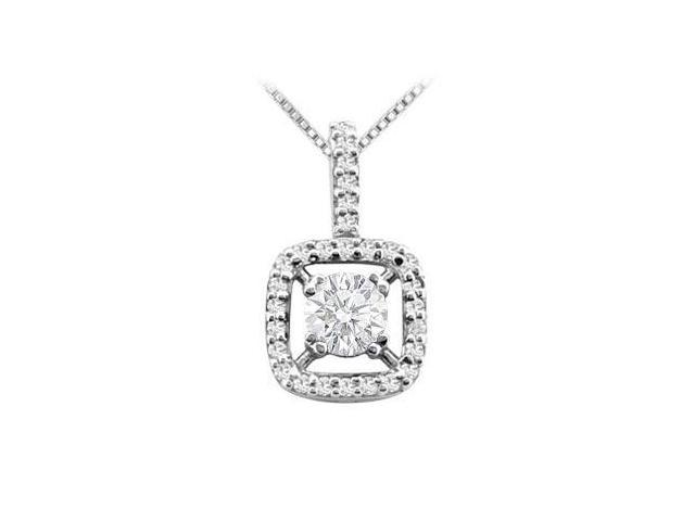 Prong Set Cubic Zirconia Pendant in Rhodium Treated .925 Sterling Silver 2.50 Carat TGW