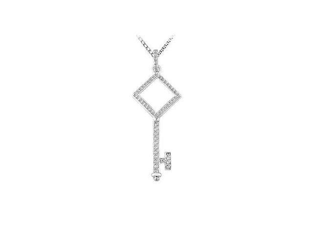 Diamond Key Pendant  14K White Gold - 0.33 CT Diamonds