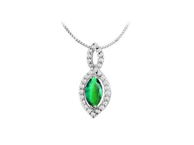 Marquise cut Frosted Emerald Pendant with Round CZ Pendant in 14K White Gold 0.80 Carat TGW