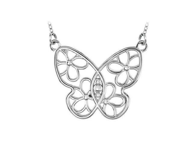 Butterfly and Floral Design Necklace in Rhodium Treated .925 Sterling Silver 28.00X34.75 MM