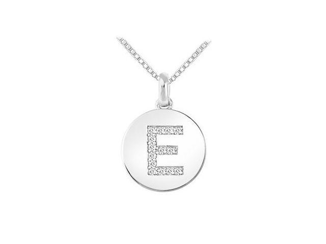 Diamond Disc Initial E Pendant  14K White Gold - 0.15 CT Diamonds