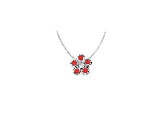GF Bangkok Ruby and Cubic Zirconia Flower Pendant in .925 Sterling Silver 0.50 Carat TGW