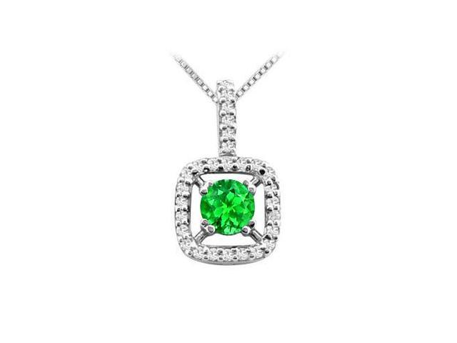 Rhodium Treated 925 Sterling Silver Pendant with Frosted Emerald and Cubic Zirconia 2.50 Carat T