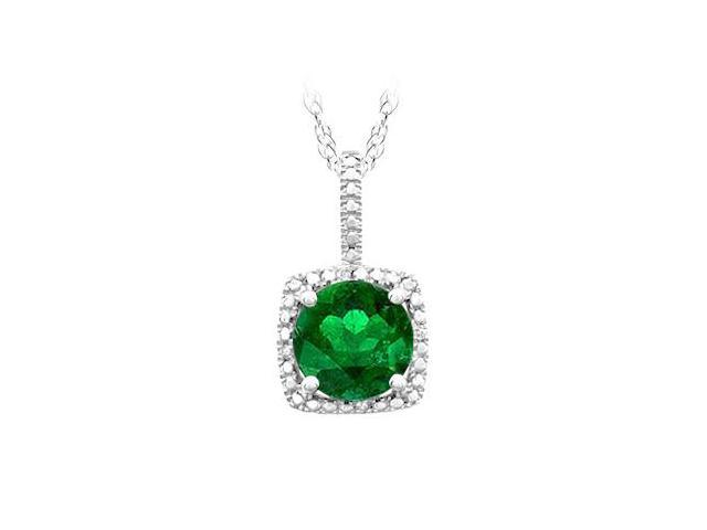 May Birthstone Created Emerald and Diamonds Pendant in 925 Sterling Silver 1.50 CT TGW