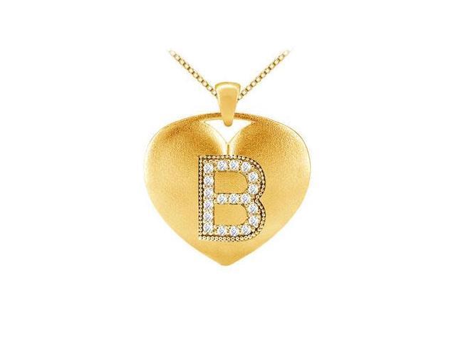 Diamond Initial B Heart Pendant with 0.19 Carat Diamonds in Yellow Gold 14K