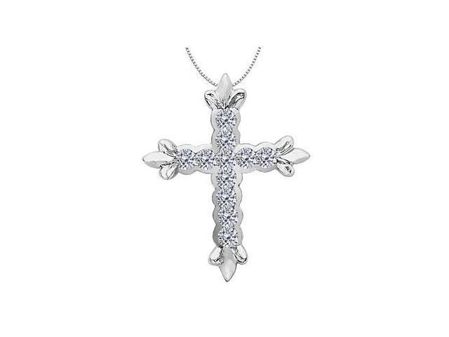 14K White Gold Cross Diamond Pendant with 1.35 Carat Diamonds